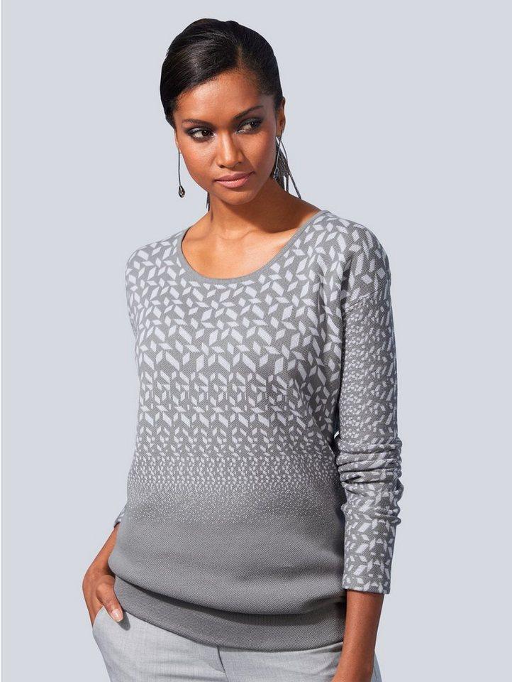 Damen Alba Moda Pullover mit Minimal-Dessin grau | 04055717086584