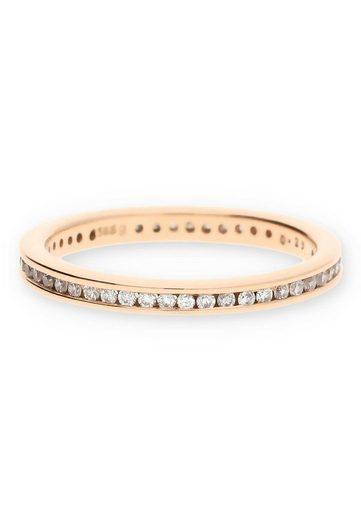 JuwelmaLux Goldring »Ring Gold Damen mit Diamant(en)« (1-tlg), Rotgold 585/000, inkl. Schmuckschachtel
