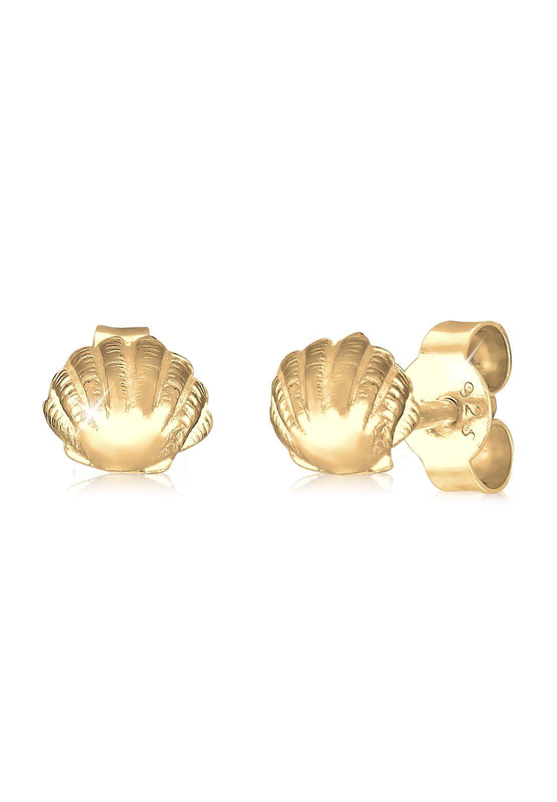 Elli Paar Ohrstecker »Muschel Maritim Meer 925 Silber vergoldet«