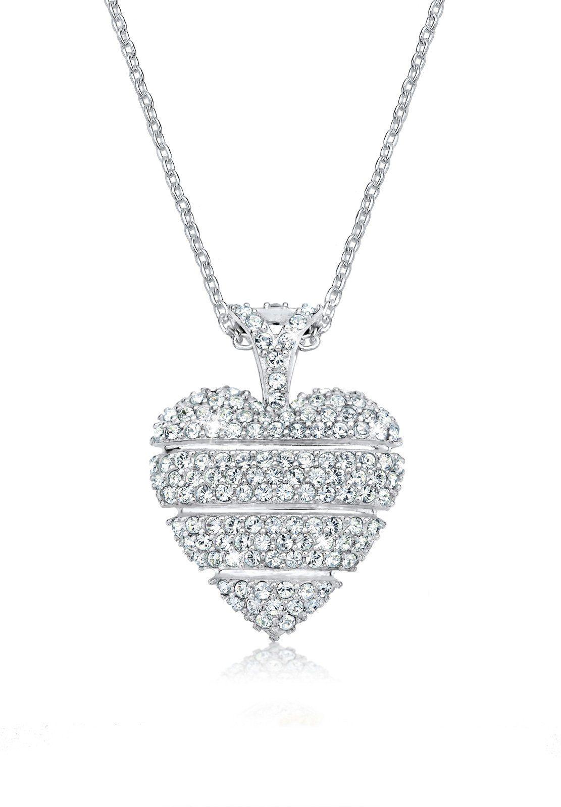 Elli Collierkettchen »Herz Liebe Swarovski® Kristalle Lovely 925 Silber«
