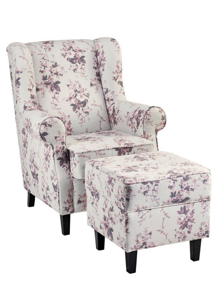 heine home sessel hocker im landhaus stil rosendesign bezug mit dekorativer kederheftung online. Black Bedroom Furniture Sets. Home Design Ideas