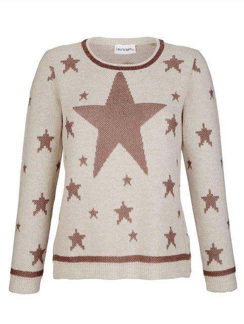 Damen Laura Kent Pullover mit Sternen weiß   04055717131802