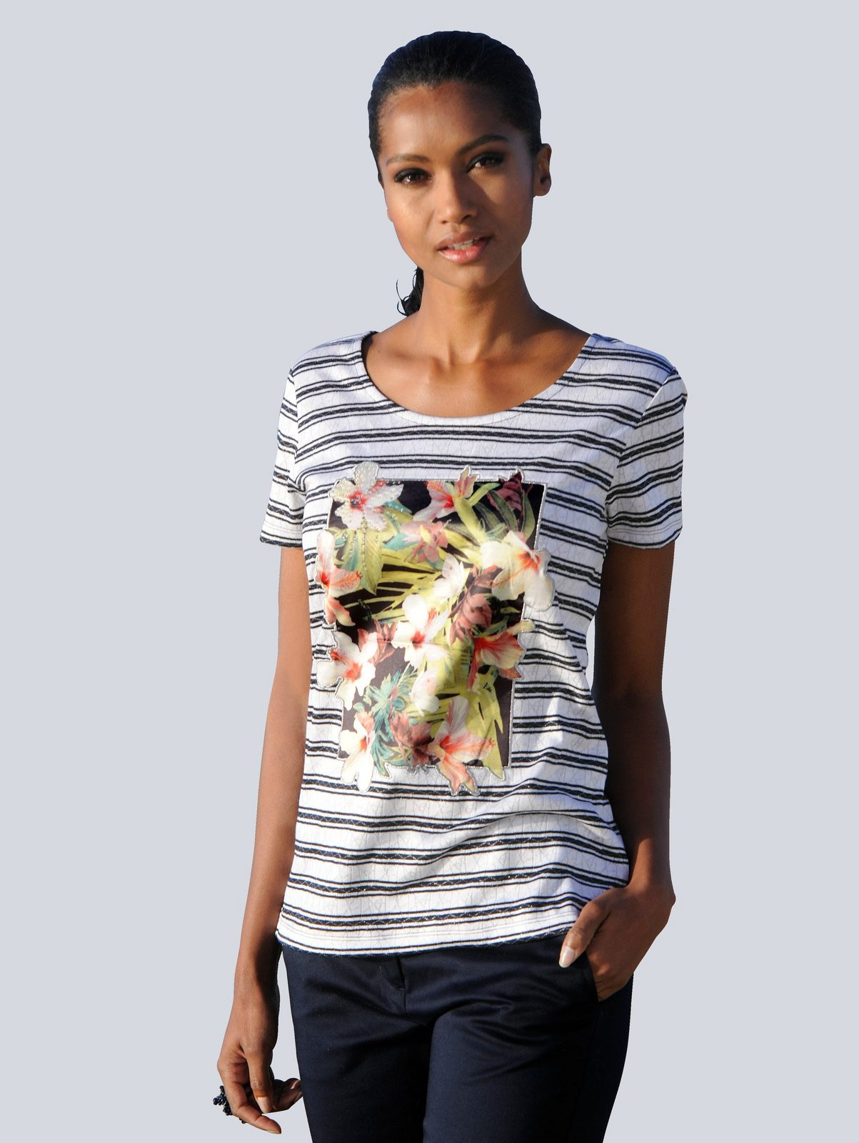 Alba Moda Shirt mit Ajourmuster