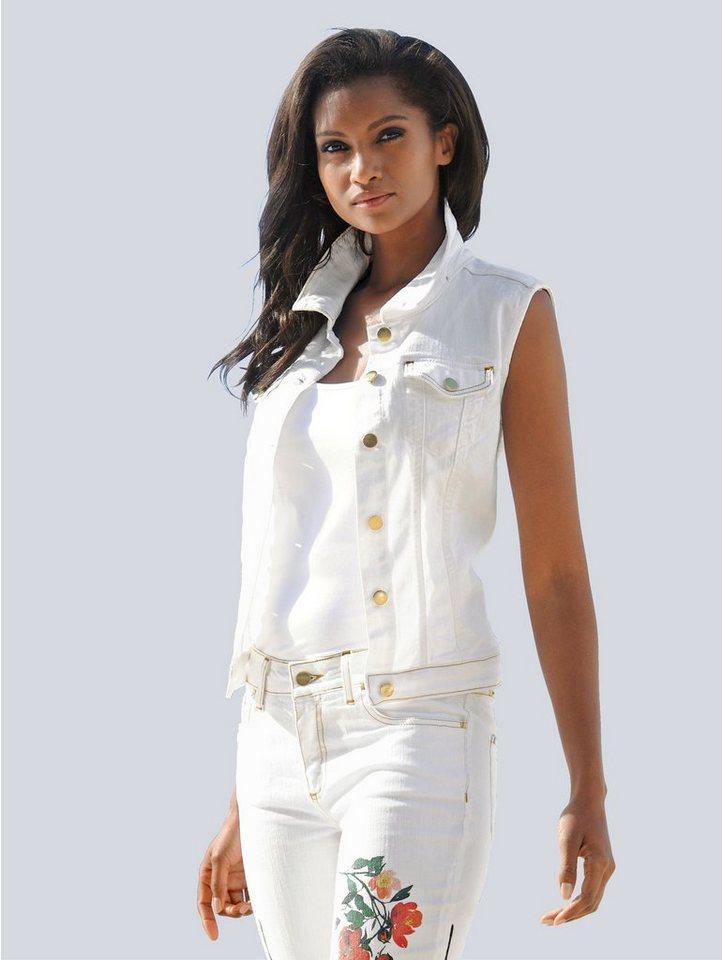 Damen Alba Moda Weste mit Rückenmotiv weiß | 04055717214727