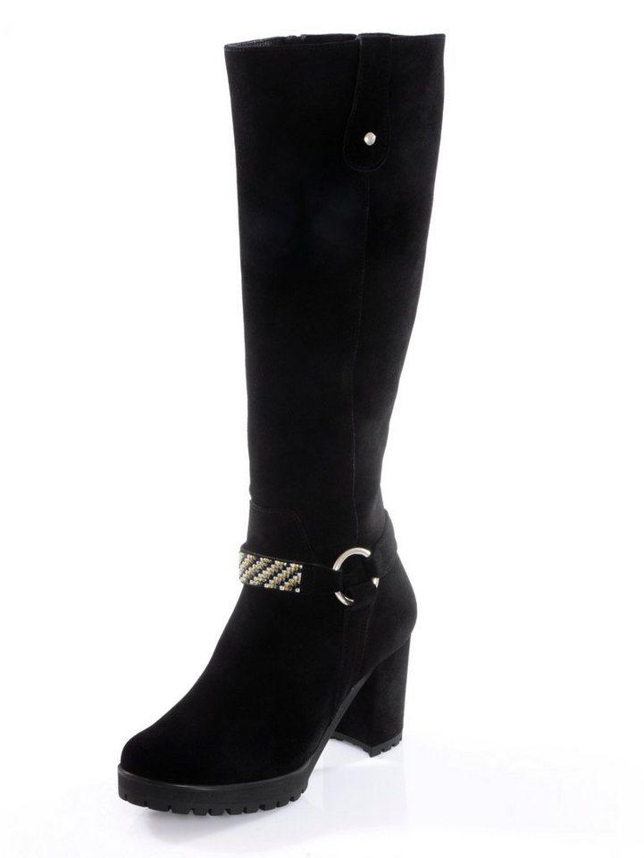 f7b5115ebb5bb1 Alba Moda Stiefel mit Schmuckband und Zierbändern