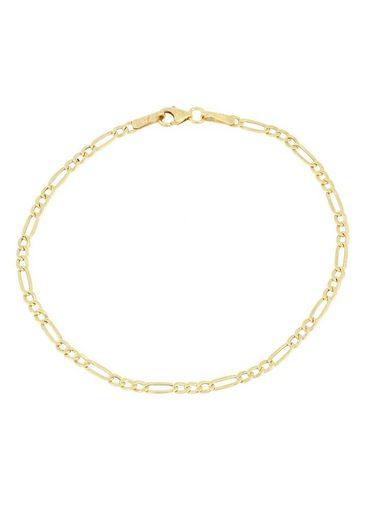 Firetti Goldarmband »in Figarokettengliederung, 2-fach diamantiert, poliert«