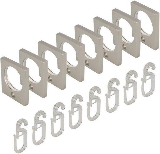 Gardinenring, Liedeco, Gardinenstangen, (Set, 8-St., mit Faltenlegehaken), eckig, für Gardinenstangen Ø 16 mm