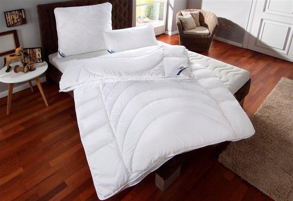4-Jahreszeitenbett + Kunstfaserkissen, »BeCo Medibett«, BeCo, Bezug aus reiner Baumwolle, 4-Jahreszeiten