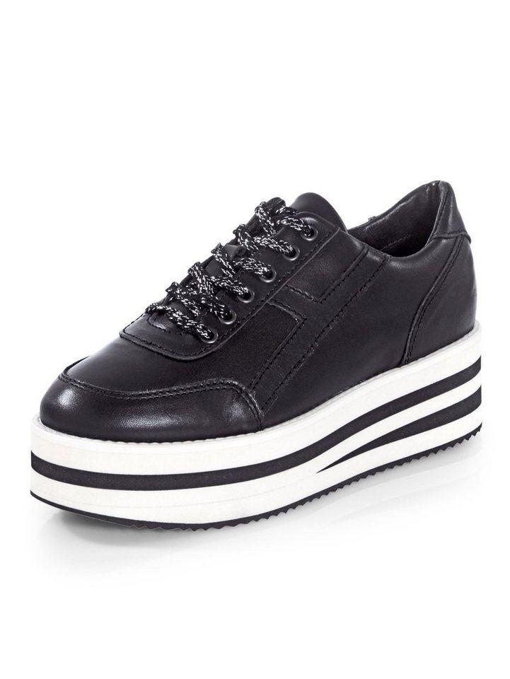 Damen Alba Moda Sneaker mit Schnürsenkeln im Glitzereffekt schwarz | 04055717211689
