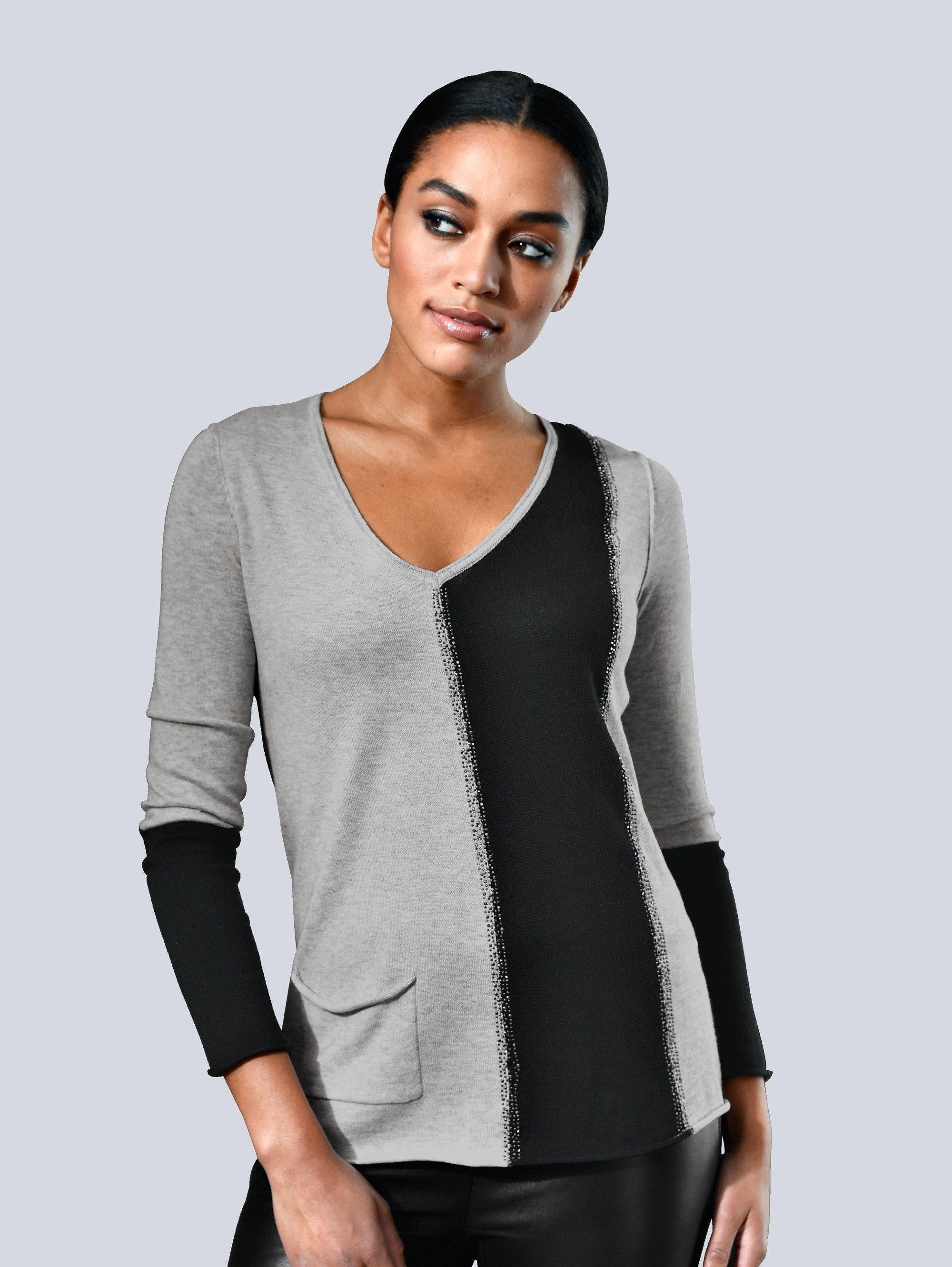 Alba Moda Pullover in modischem Colour-Blocking
