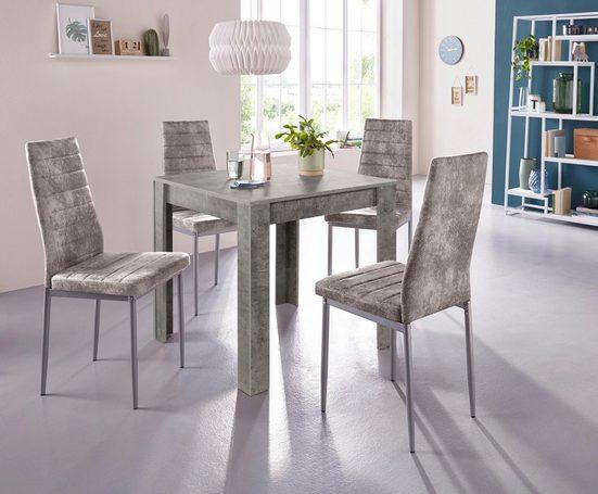 my home Essgruppe »0«, (Set, 5-tlg), mit Esstisch »Lynn«, Breite 80 cm und 4 x Stuhl »Kate«