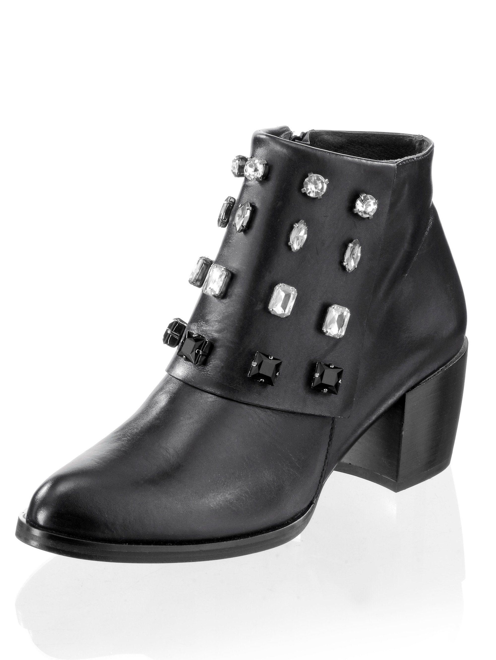 Alba Moda Stiefelette mit glänzenden Schmucksteinen online kaufen  schwarz