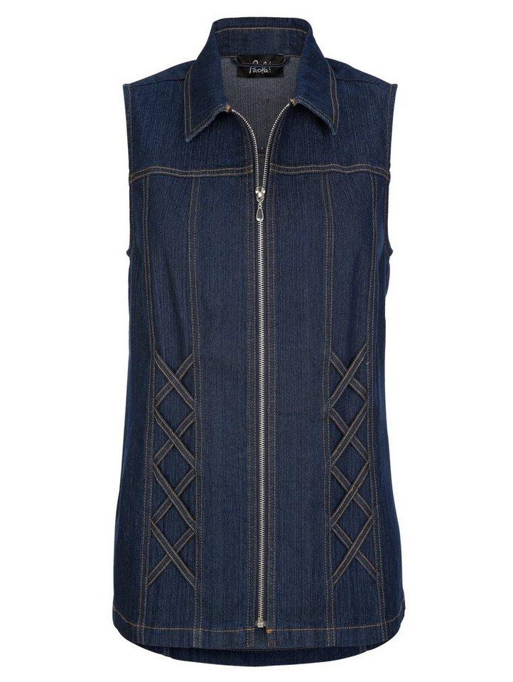 Paola Jeansweste mit dekorativen Bändern | Bekleidung > Westen > Jeanswesten | Blau | Baumwolle - Polyester | Paola