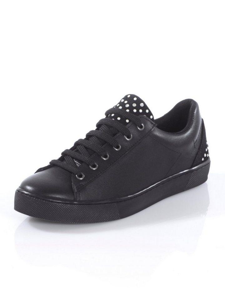 Damen Alba Moda Sneaker mit Verzierung auf der Lasche und an der Ferse schwarz | 04055717215021