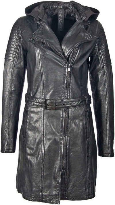 Gipsy Ledermantel »SONNYA2« mit einknöpfbarem Jersey-Hoodie