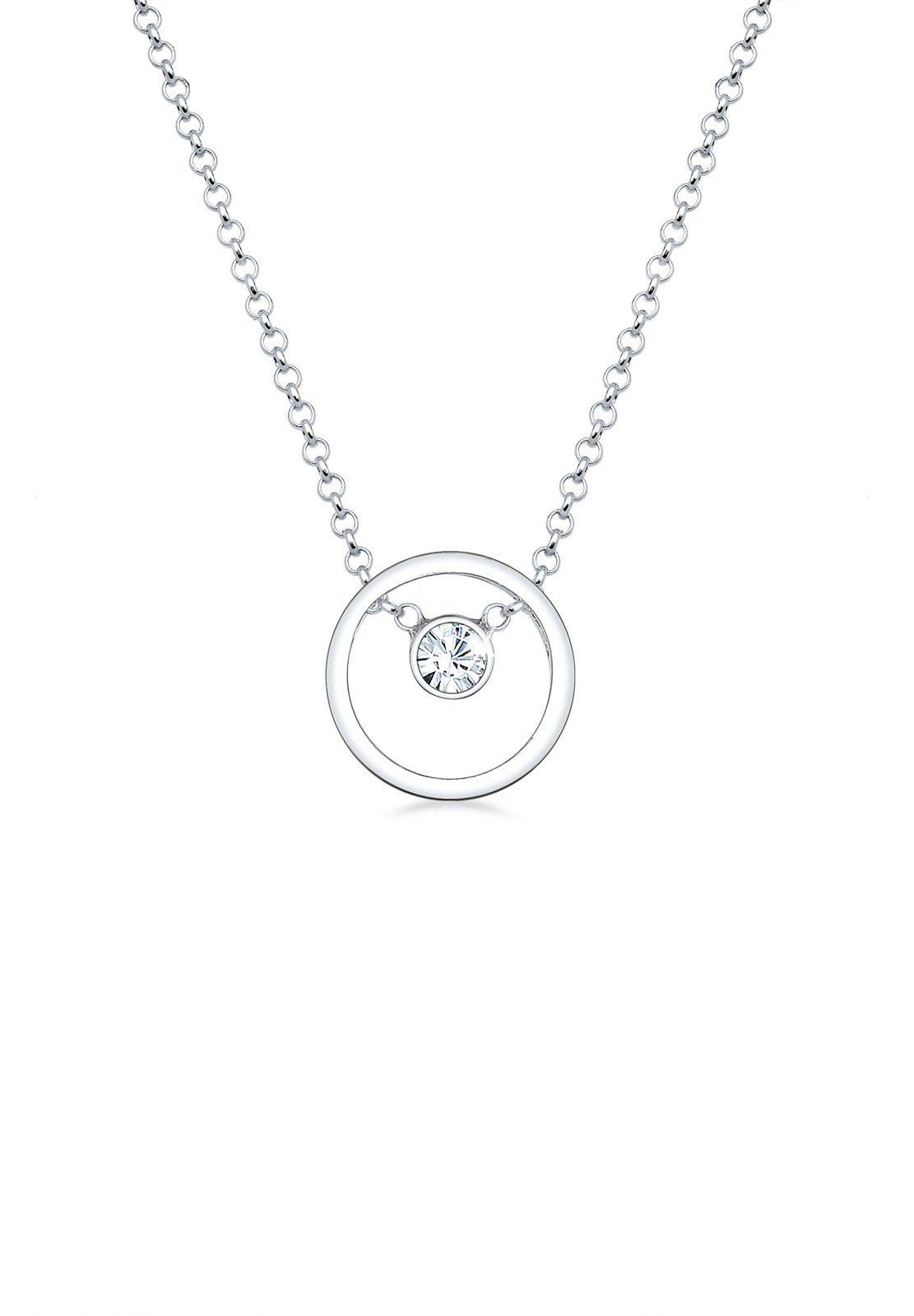 Elli Collierkettchen »Kreis Swarovski® Kristalle 925 Sterling Silber«