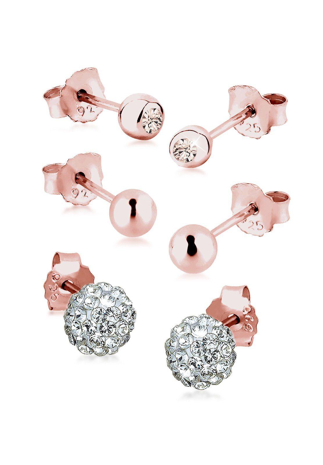 Elli Ohrring-Set »Set: 3er Set Swarovski® Kristalle rosé vergoldet«