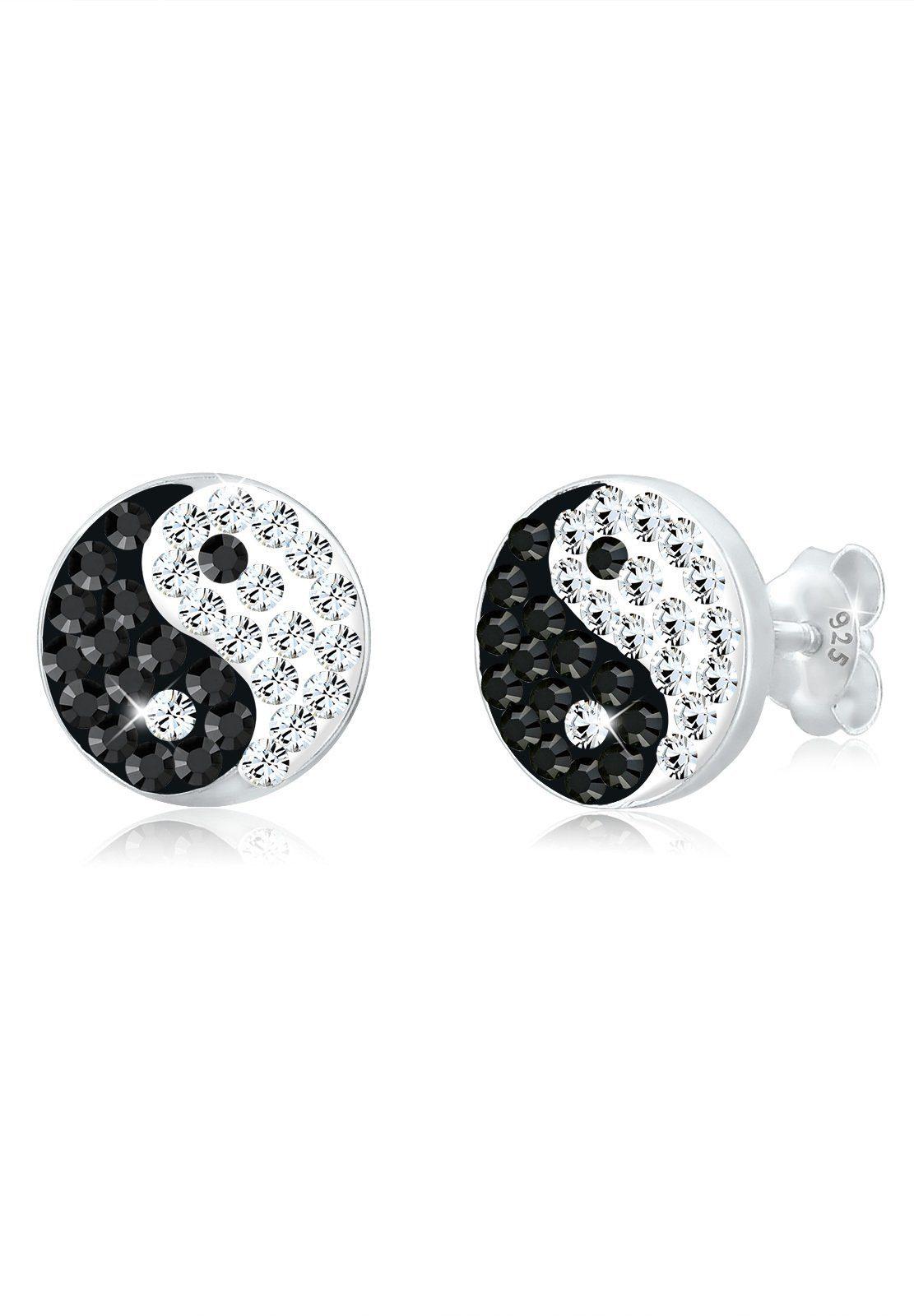 Elli Paar Ohrstecker »Yin und Yang Symbol Swarovski® Kristalle Silber«