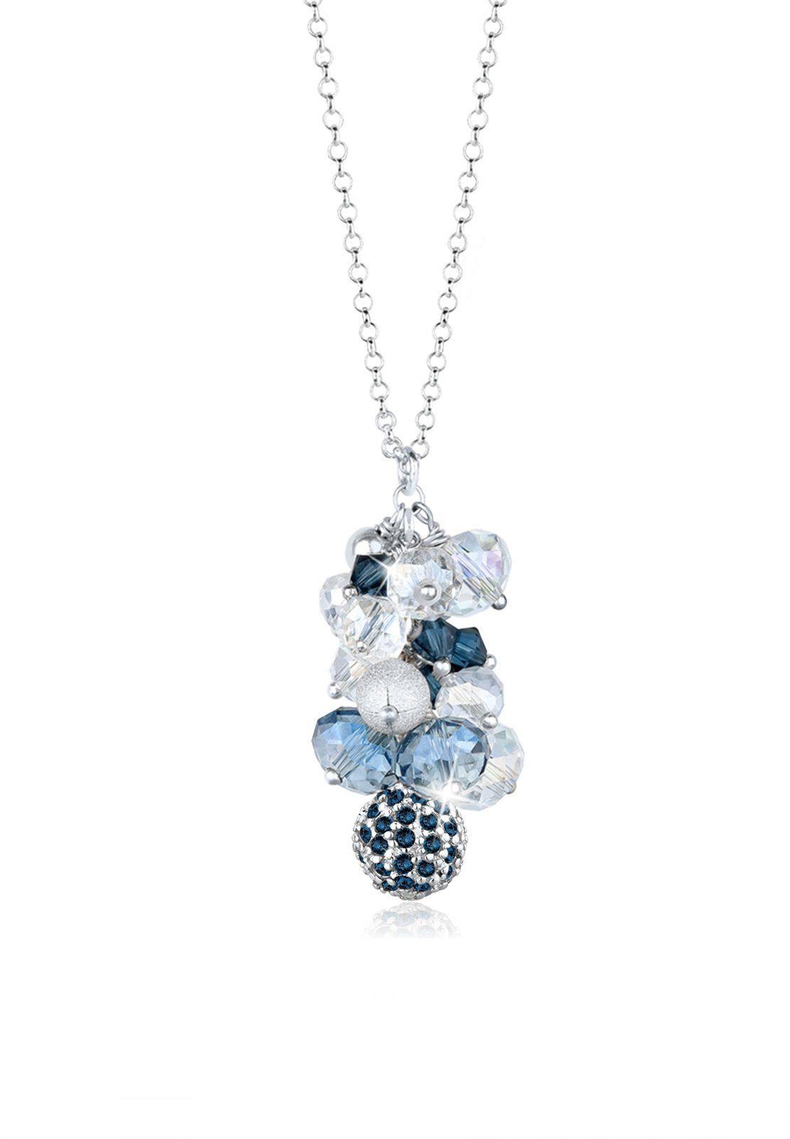 Elli Kette mit Anhänger »Kugel Perlen Swarovski® Kristalle 925 Silber«