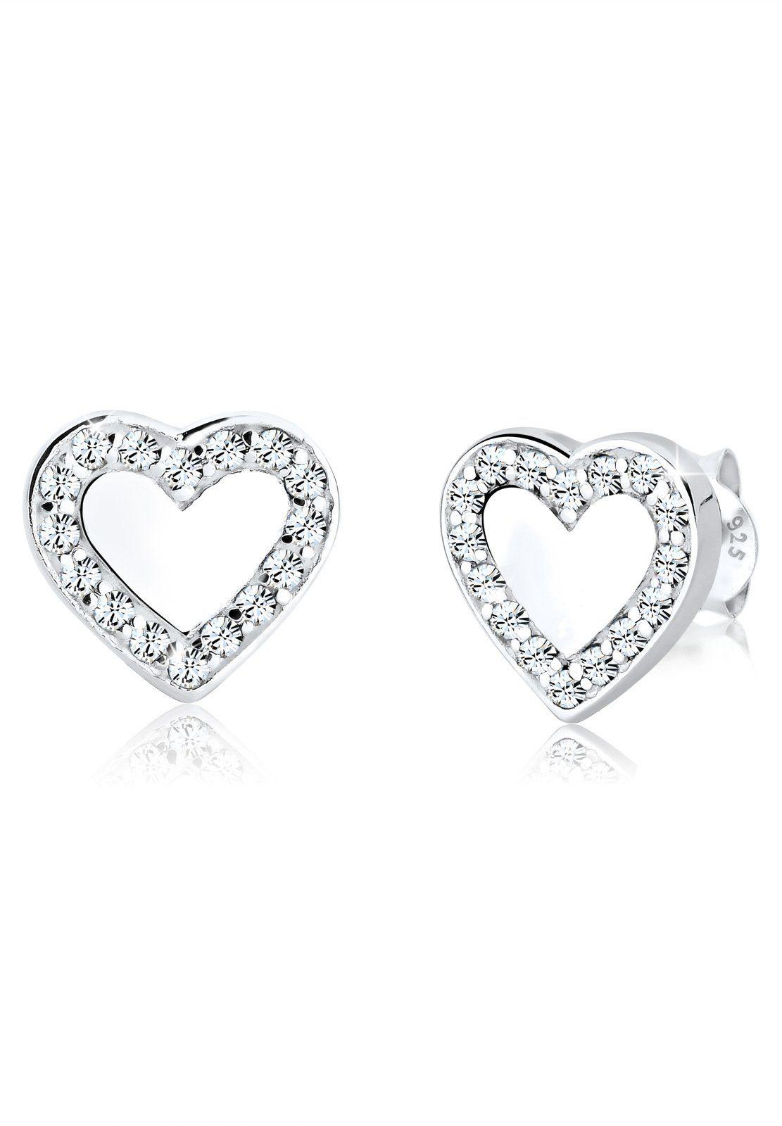 Elli Paar Ohrstecker »Herz Symbol Swarovski® Kristalle 925 Silber Lovely«