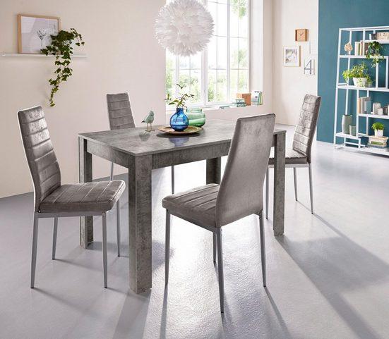 my home Essgruppe »0«, (Set, 5-tlg), mit Esstisch »Lynn«, Breite 120 cm und 4 x Stuhl »Kate«