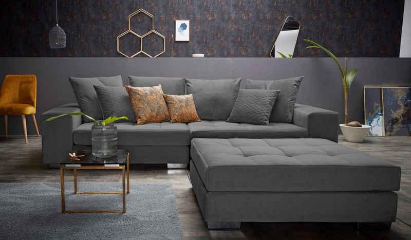 INOSIGN Big-Sofa »Vale«, mit Steppung im Sitzbereich, Federkern und Zierkissen