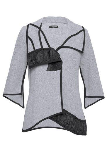 SAMMER Berlin Cardigan mit V-Ausschnitt, asymmetrischem Kragen und Schlitzen