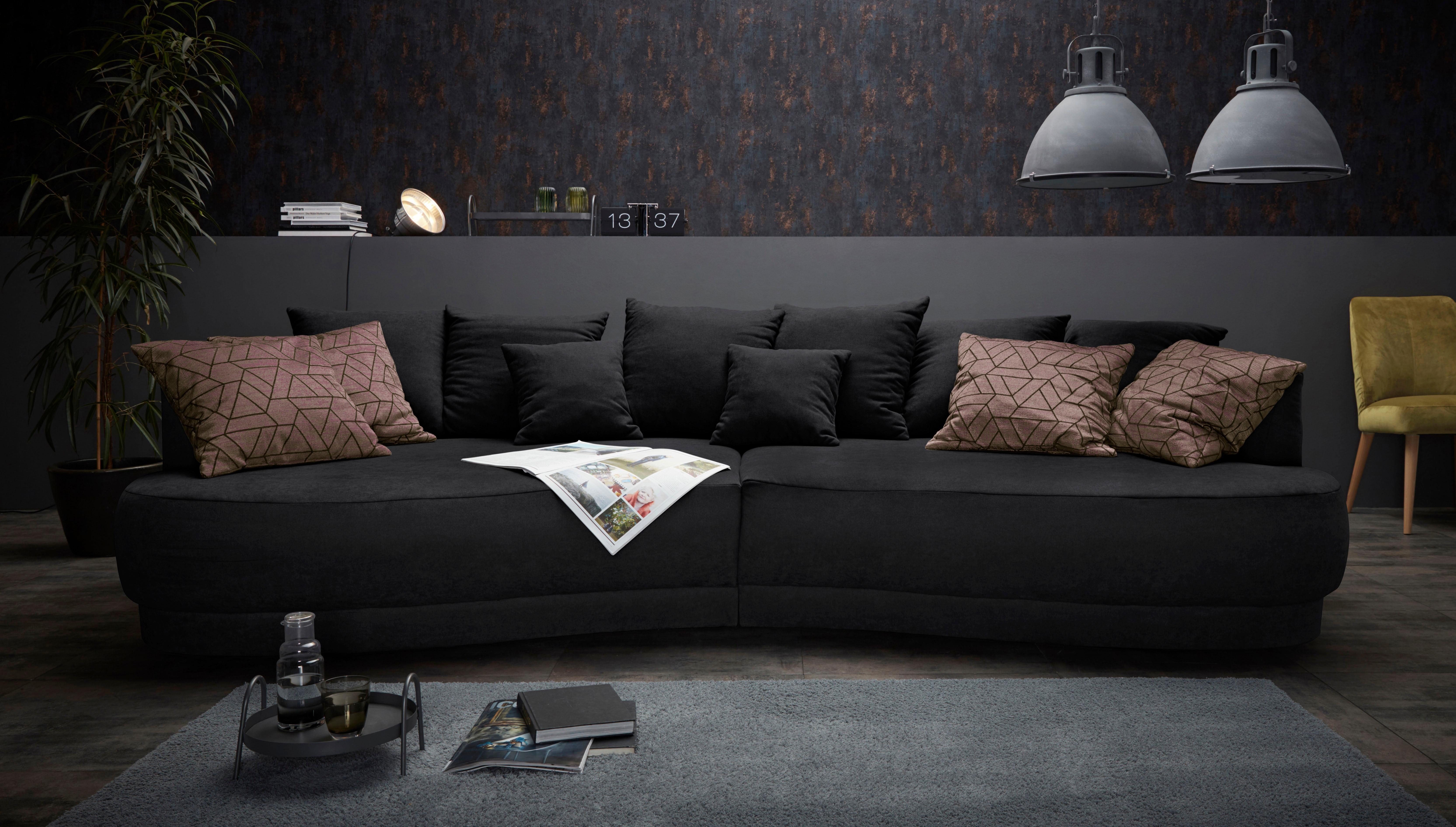 INOSIGN Big Sofa »Vany« In Gerundeter Optik Mit Vielen Losen Kissen