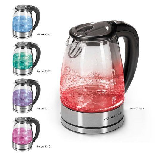 GOURMETmaxx Wasserkocher, 1.7 l, Glas LED & Temperaturauswahl