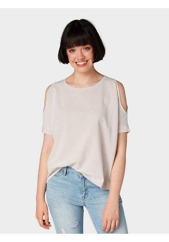 Damen Tom Tailor Denim T-Shirt Gestreiftes Cold-Shoulder T-Shirt rosa | 04060868235804