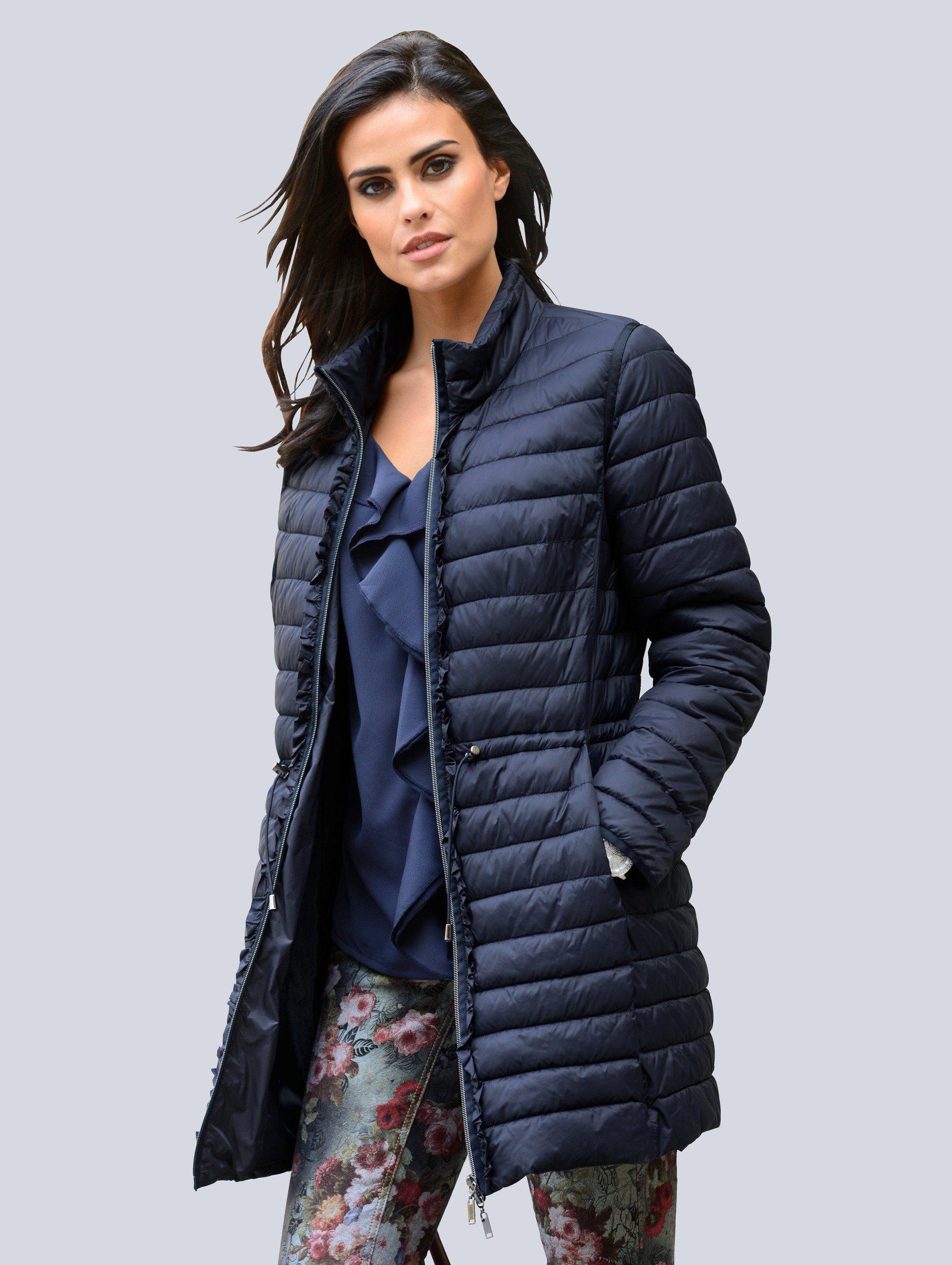 Alba Moda Jacke mit dekorativem Volantbesatz am Reißverschluß