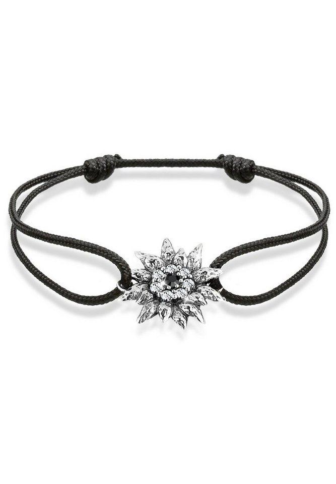 Damen Elli Armband Edelweiß Wiesn Tracht Swarovski® Kristalle Silber schwarz | 04050878486921