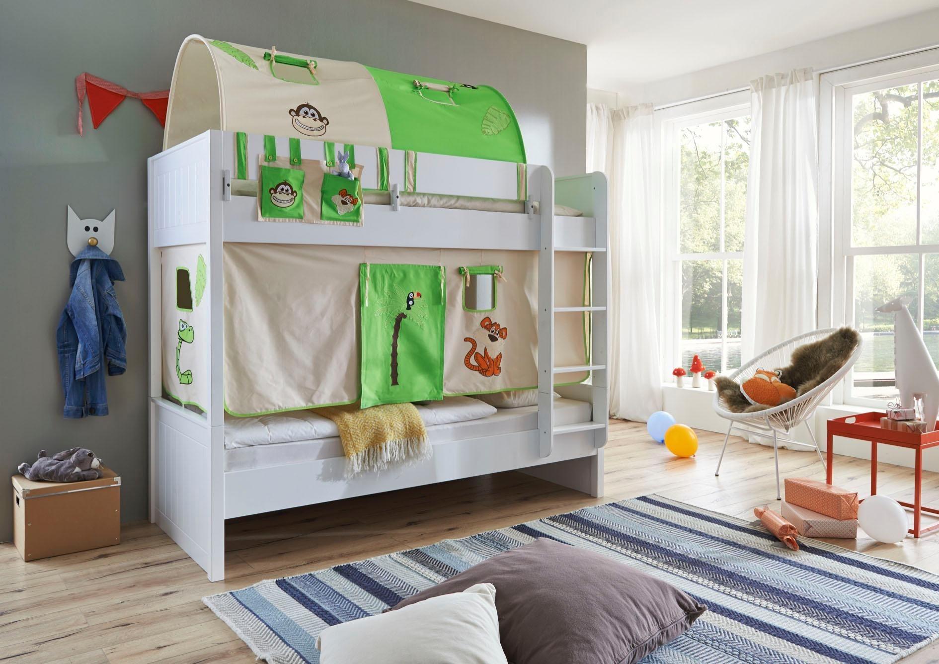 Relita Einzel-/Etagenbett »Luka« mit Vorhang-Set, Tasche und 2er-Tunnel | Kinderzimmer > Kinderbetten > Etagenbetten | Farbig | Massiver - Mdf - Baumwolle | Relita