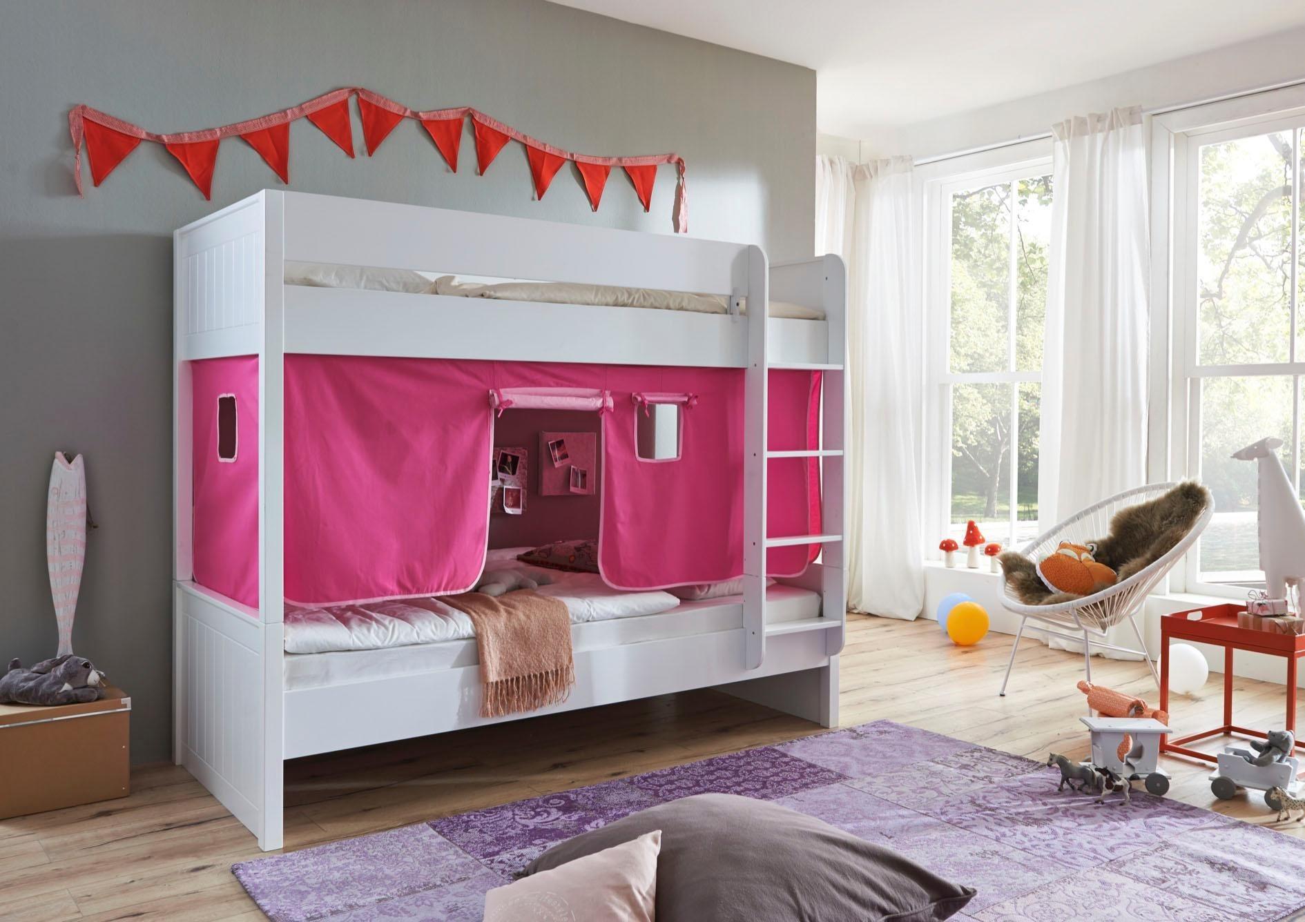 Relita Einzel-/Etagenbett »Luka« mit Vorhang-Set | Kinderzimmer > Kinderbetten > Etagenbetten | Farbig | Massiver - Mdf - Baumwolle | Relita