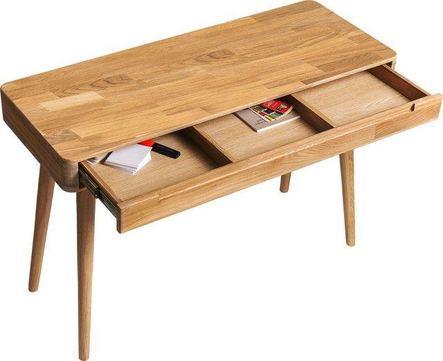 Wohnzimmertische - Home affaire Konsolentisch »Scandi«, aus massivem Eichenholz, mit vielen Stauraummöglichkeiten, Breite 110 cm  - Onlineshop OTTO
