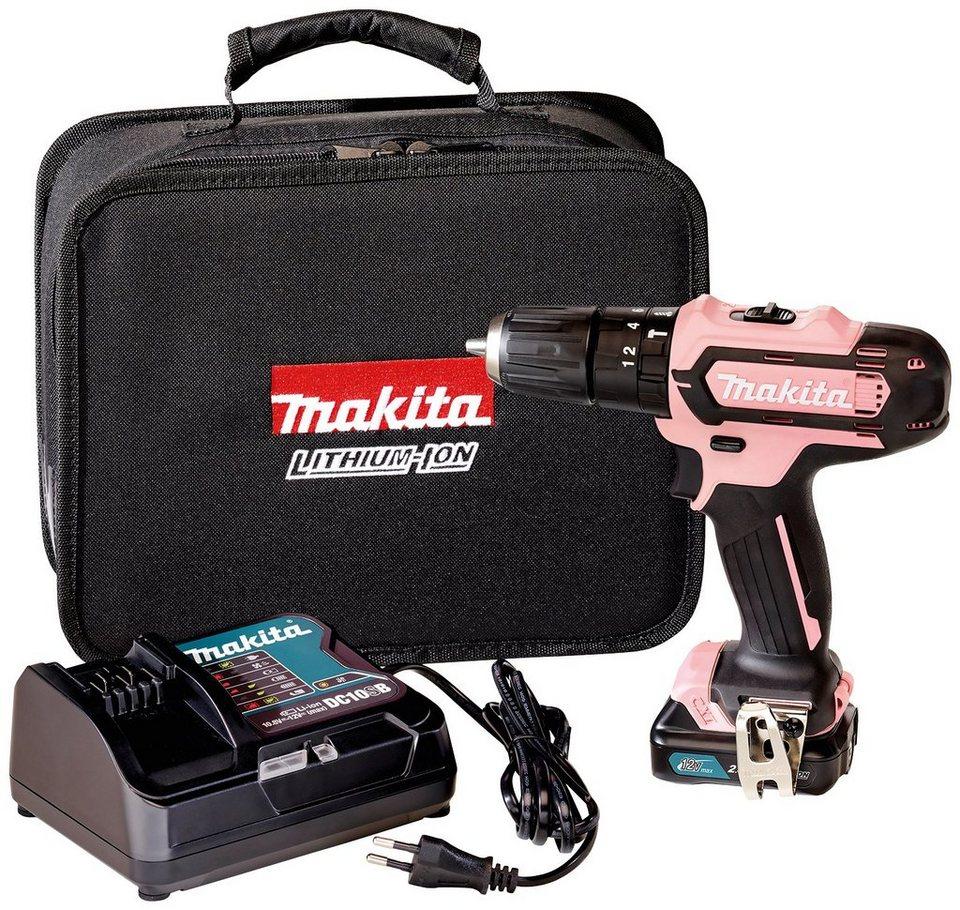 makita akku-schlagbohrschrauber »hp331dsap1«, 12 v, pink