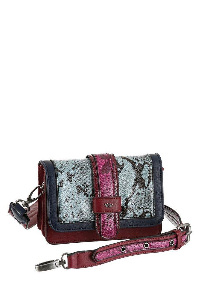 Damen Fritzi aus Preußen Umhängetasche LOLA  Mini Bag mit modischer Snake Optik lederfrei rosa | 04059065149731