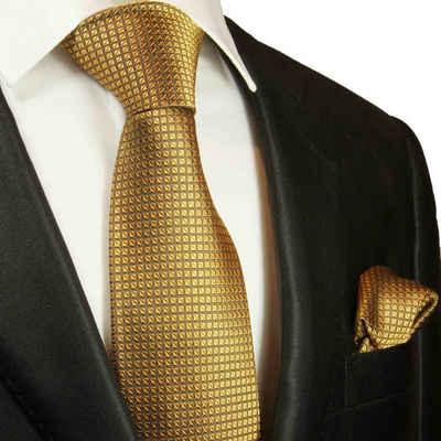 Paul Malone Krawatte »Herren Seidenkrawatte mit Tuch modern uni Waffelmuster 100% Seide« (Set, 2-St., Krawatte mit Einstecktuch) Breit (8cm), gold 2045