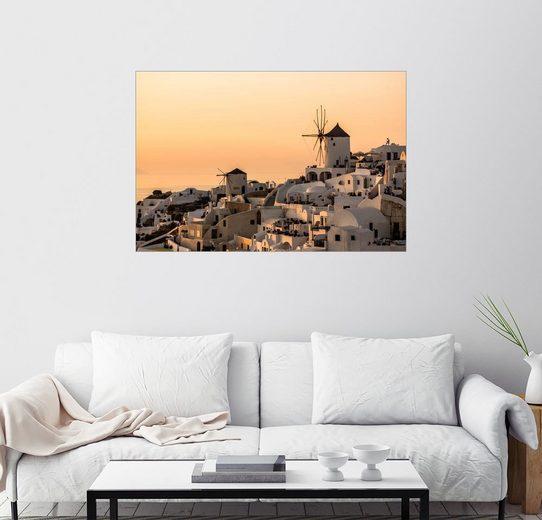Posterlounge Wandbild »Sonnenuntergang in Santorini«