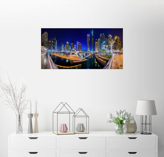 Posterlounge Wandbild »Dubai Marina Bay bei Nacht«