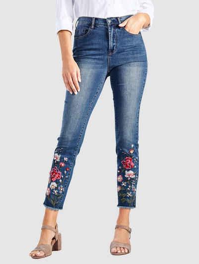 Paola 7/8-Jeans mit floraler Stickerei