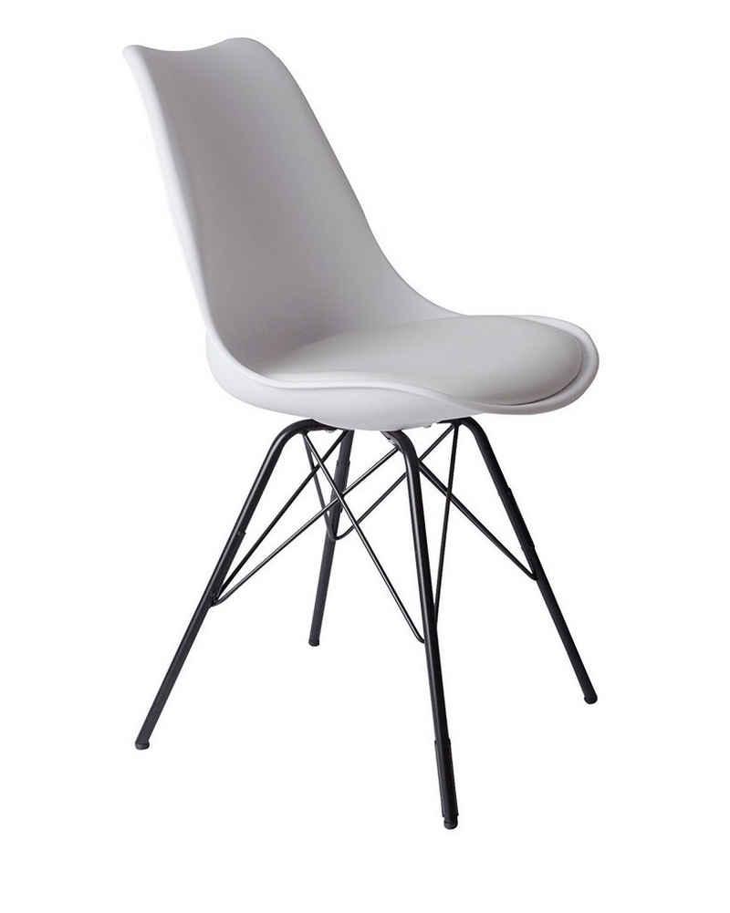 SAM® Schalenstuhl »Luis«, mit integriertem Sitzkissen in Lederoptik weiß