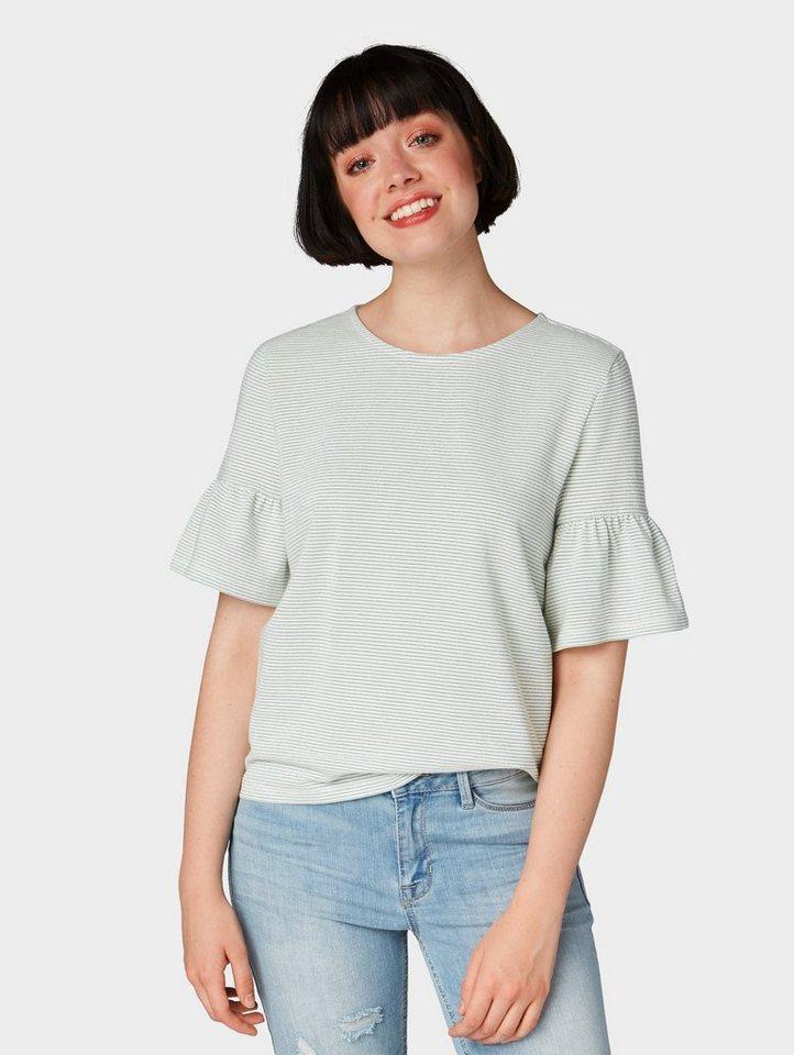 Tom Tailor Denim T-Shirt »Gestreiftes Shirt mit Volantärmeln« online ... d9e429032e