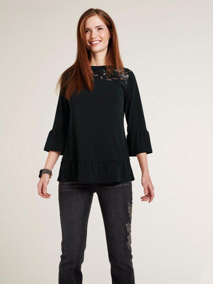 Damen heine  TIMELESS Shirt mit Laser-Cut-Einsatz schwarz | 08698304736491