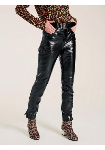 Damen heine STYLE Lederhose aus trendigem Lackleder schwarz | 04251297616160