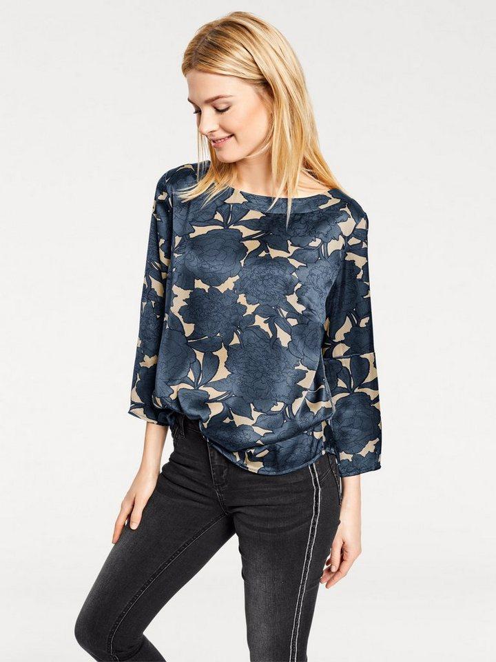 heine CASUAL Druckbluse mit Floral Print   Bekleidung > Blusen > Druckblusen   Blau   Ca - Polyester   heine