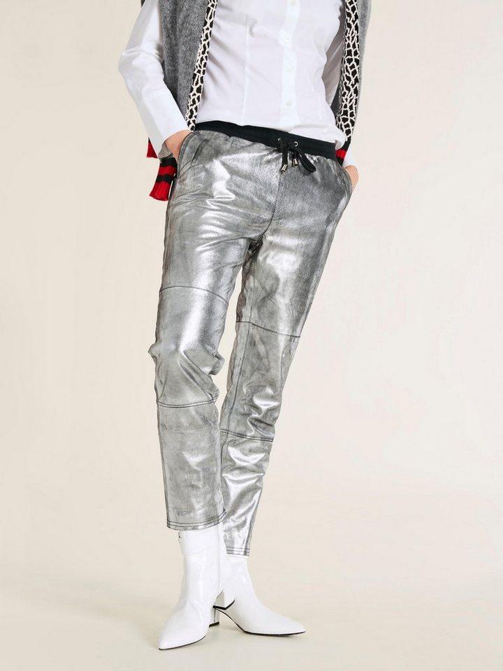 Damen heine  STYLE Lederhose Im Metallic Look silber | 04251297616382