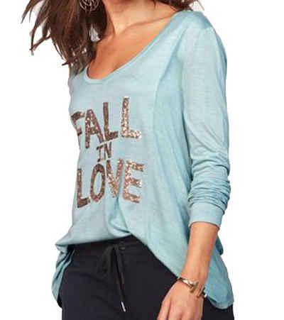 Miss Goodlife Longsleeve »miss goodlife Longsleeve Fall in Love Sweatshirt glamouröses Langarm-Shirt für Frauen mit Paillettenbesatz Freizeit-Shirt Blau«