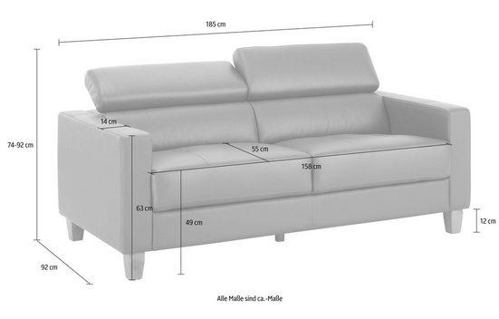 Home affaire 3-Sitzer »Luzern«, mit verstellbarer Kopfstütze und Holzfüßen