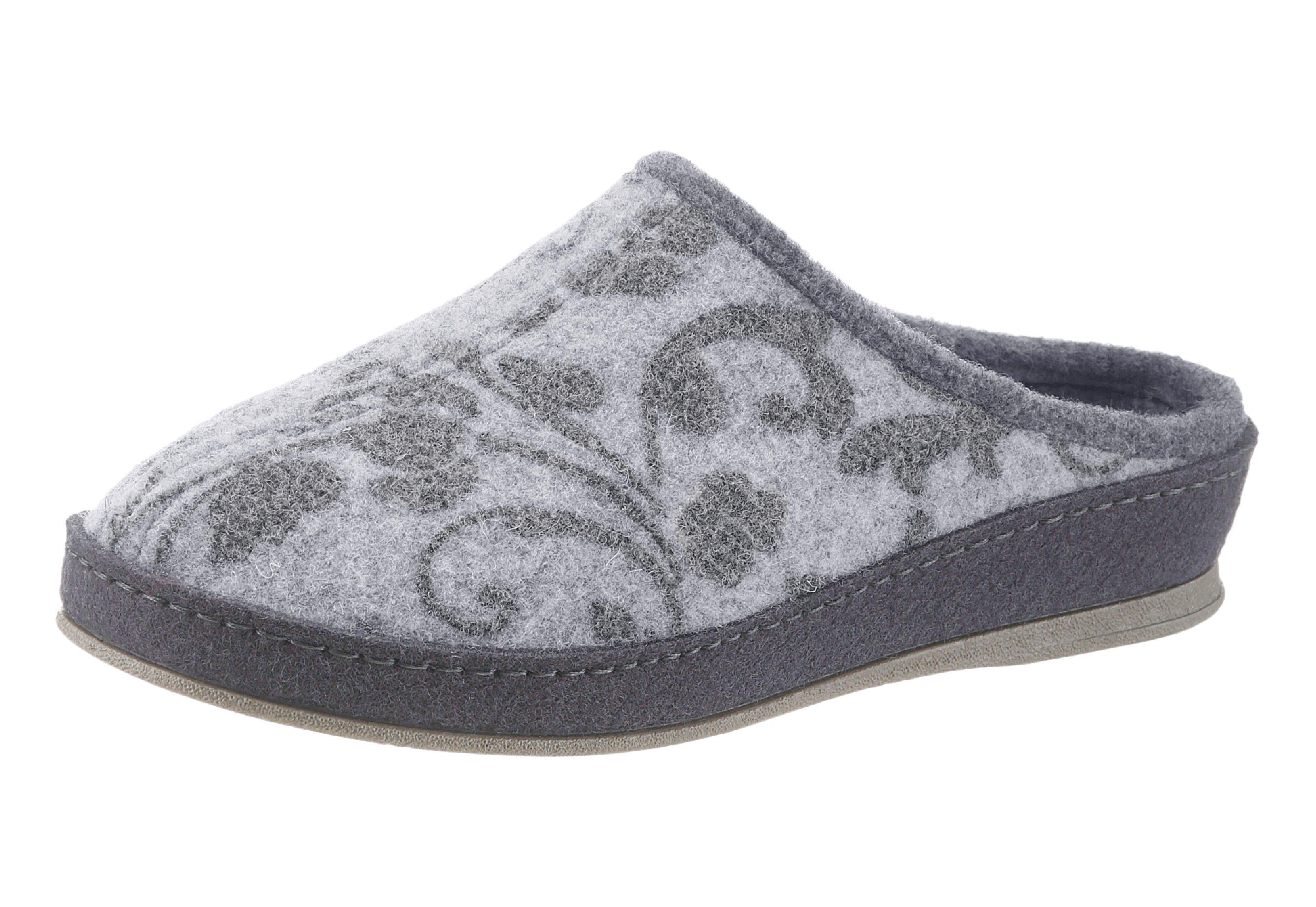 Schawos Pantoffel mit Fersendämpfung online kaufen  grau-bedruckt